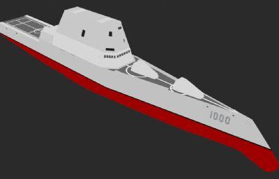 朱姆沃��特��逐�3D模型,��炮塔伸出�D��赢�