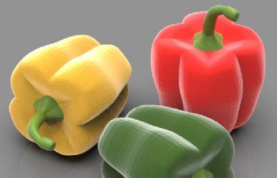 柿子椒,辣椒3D白模