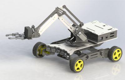 机械臂小车,遥控拆弹机械车solidworks图纸模型,还有STEP格式