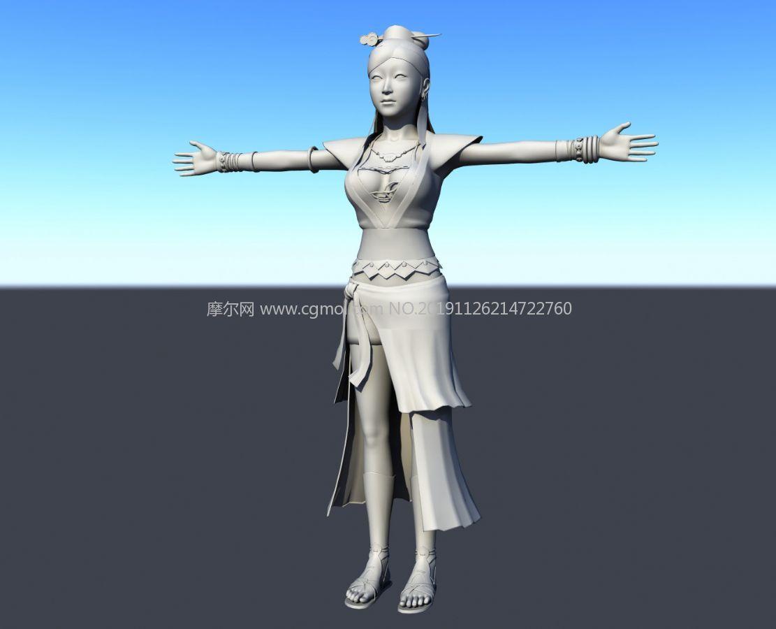 古代行走江湖的女侠maya模型