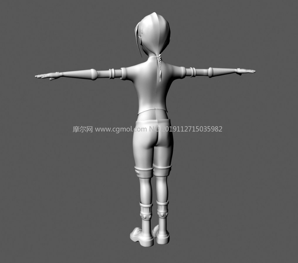 小女孩卡通风格maya模型素模