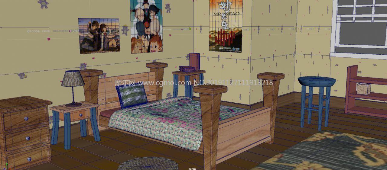 maya室内卧室卡通场景maya模型,无贴图
