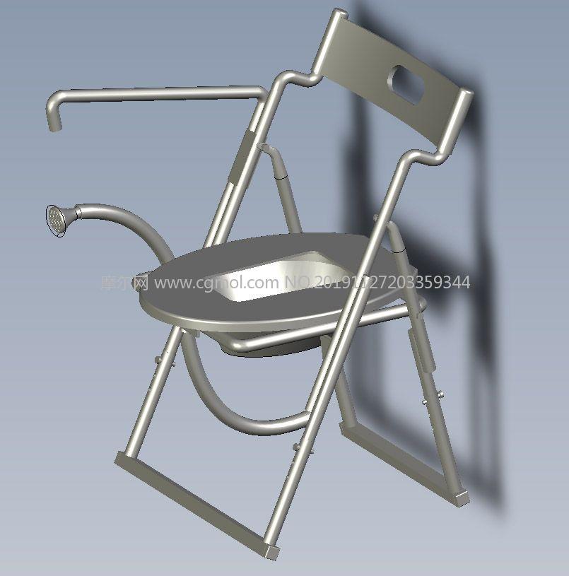 家用老人孕�D坐便椅坐便器STP�D�模型