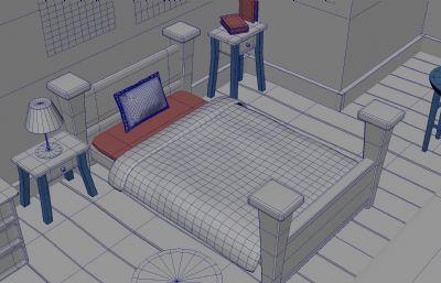 maya室�扰P室卡通�鼍�maya模型,�o�N�D