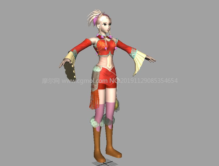 古代着装美女maya2015游戏模型,有贴图