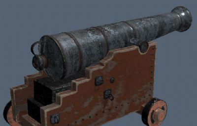 木� 基底大炮火炮OBJ模型