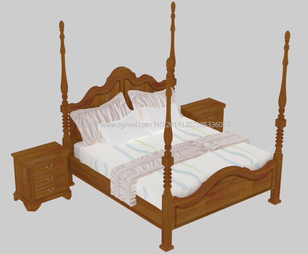 美式架子床,高柱床3D模型