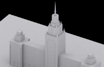 電力大廈OBJ模型白模