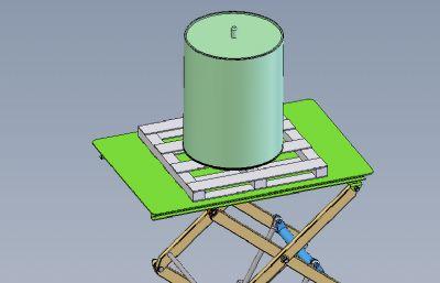 剪刀手货物运载升降机Solidworks图纸模型