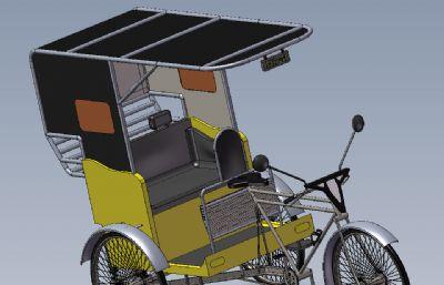 人力三轮车,三轮自行车slidworks图纸模型,还有STEP格式