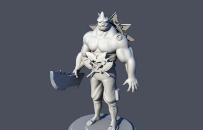 野猪斧头战士OBJ模型