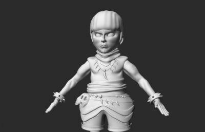 西瓜头卡通少数民族男孩maya模型