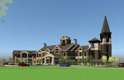 �W式�e墅,古堡豪宅su模型