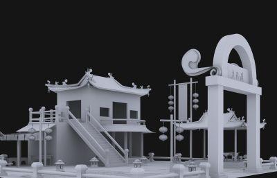 半月�e酒�^,休�e山�f3D模型白模