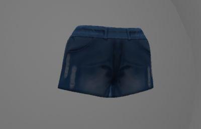 简单的牛仔超短裤maya模型