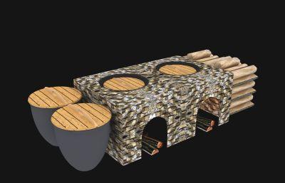 80-90年代的柴火灶�_3D模型