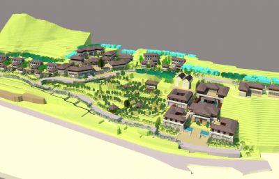 古镇景区su模型