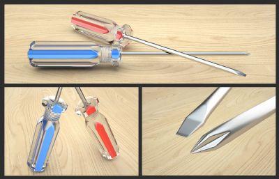 ����螺�z刀,一字起子,十字起子C4D五金工具模型,Octane渲染器渲染