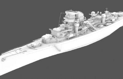希佩��海�上�⒓�重巡洋�3D模型,MAX,OBJ格式