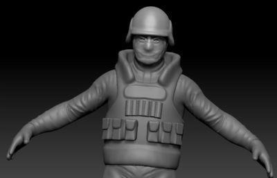 香港防爆警察,特�N部�士兵ZBRUSH模型,ZPR格式