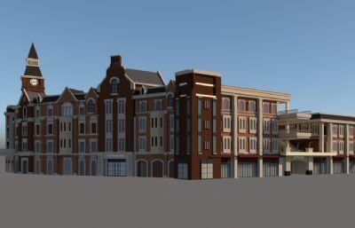 英伦风格小区建筑su模型