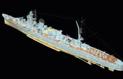 矢矧��p巡洋�OBJ模型
