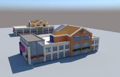 咖啡店,咖啡馆建筑su模型