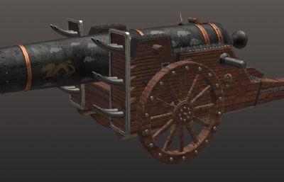 中�A��炮,�t夷大炮3D模型,OBJ格式模型,�зN�D