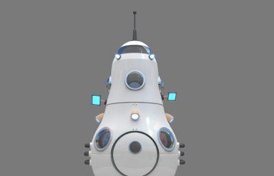 卡通太空�w船,太空��b置美�3D模型,�N�D全