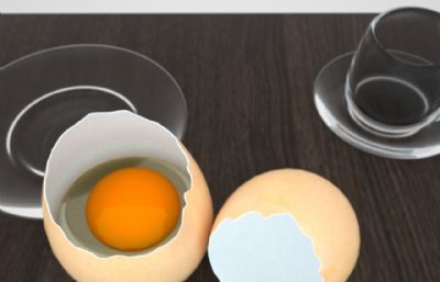 �u蛋+透明玻璃杯+茶杯托C4D模型,octane渲染