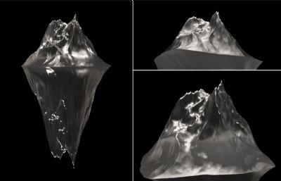 真实冰山效果C4D模型,精细结构,Octane渲染