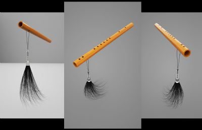 有玉�Я魈K的木� 笛子C4D����模型
