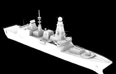 英��皇家海�45型�逐�MAX,OBJ模型
