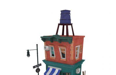 小屋,咖啡小店maya模型,有贴图