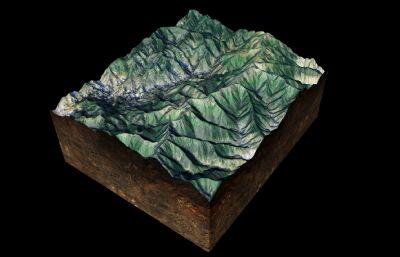 寫實山形地貌,山體山勢起伏沙盤圖C4D模型