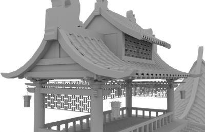 古代水船,游船maya精�模型