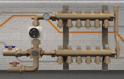 地暖分水器,配,集水装置3D模型