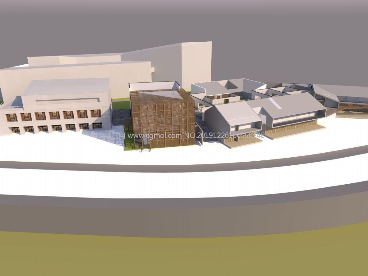 中式仿古庭院建筑su模型