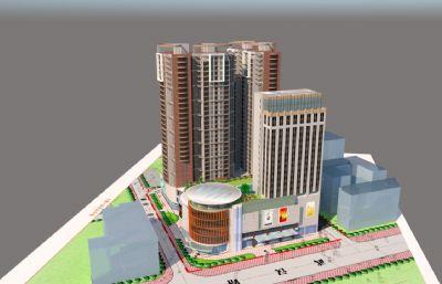 商场,购物广场综合体su模型