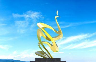 抽象孔雀雕塑�O�3D模型