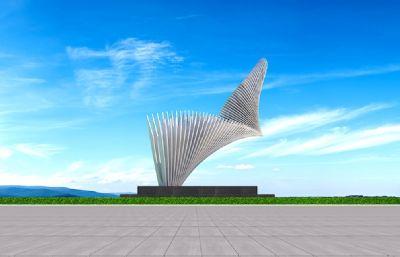 翅膀雕塑設計3D模型