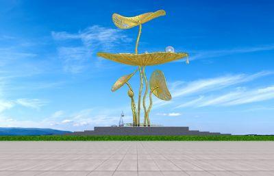 荷�~水珠滴水雕塑�O�3D模型