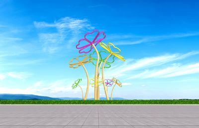 生機勃發的五葉草雕塑設計3D模型一