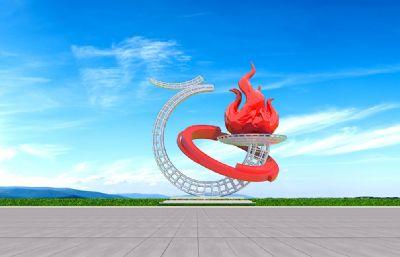 �h-火炬雕塑�O�3D模型