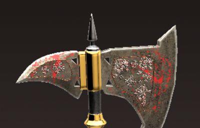 长柄斧OBJ次世代武器模型