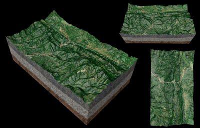�{谷,山形地貌,山�萜鸱�沙�P�DC4D模型高模