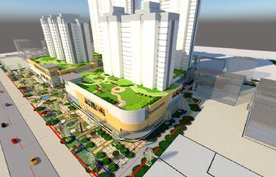 大的购物中心+商业办公楼su模型