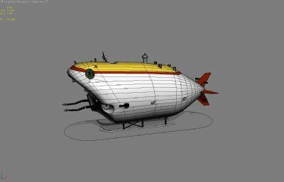 展�^小��艇,水下探�y器3D模型