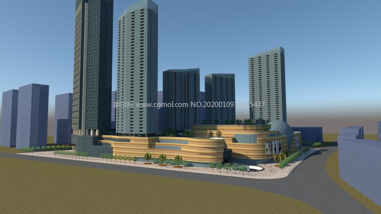 商场及周边商业区规划su模型