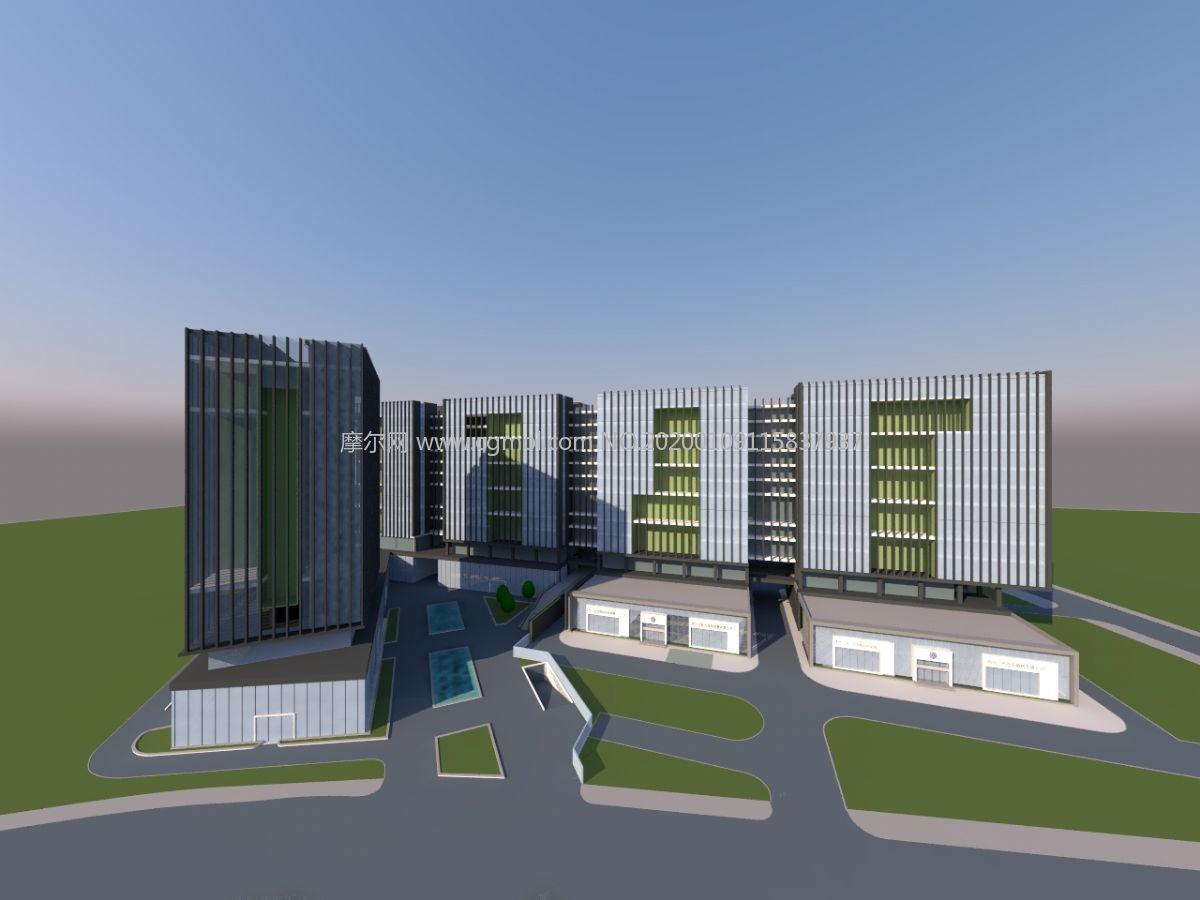 俄罗斯方块造型商业办公楼su模型